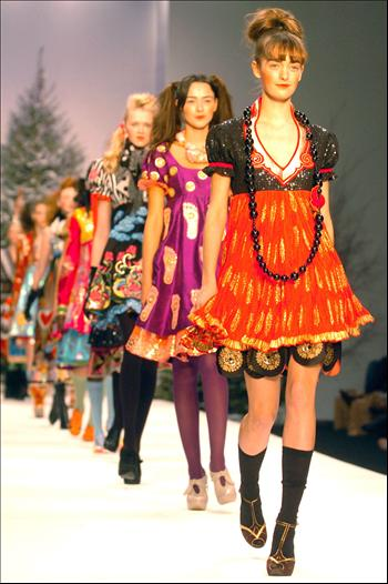 models in bright creations during London Fashion Week