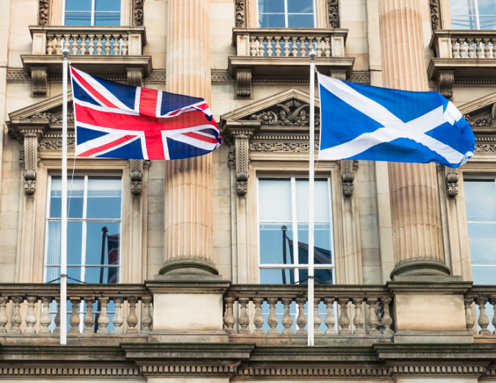 Union Flag and Scottish Saltire in Edinburgh